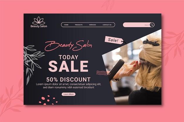 Modelo de página de aterrissagem de venda de salão de beleza