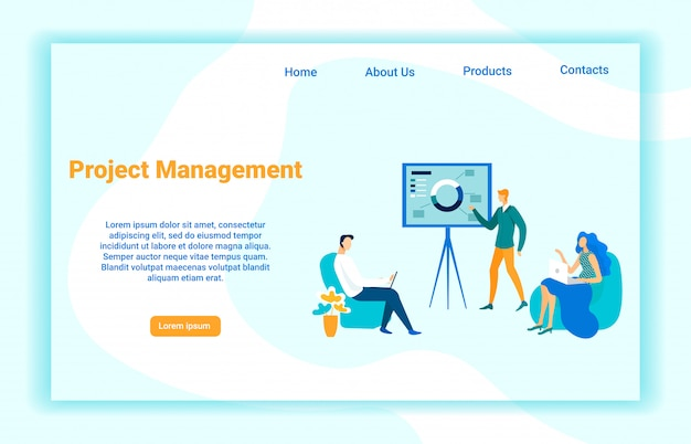 Modelo de página de aterrissagem de vetor de gerenciamento de projeto