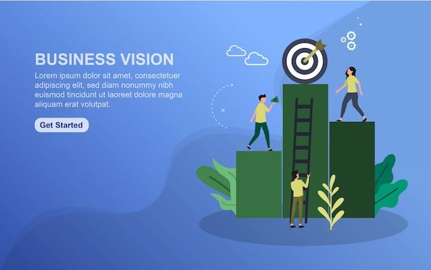 Modelo de página de aterrissagem de visão de negócios.