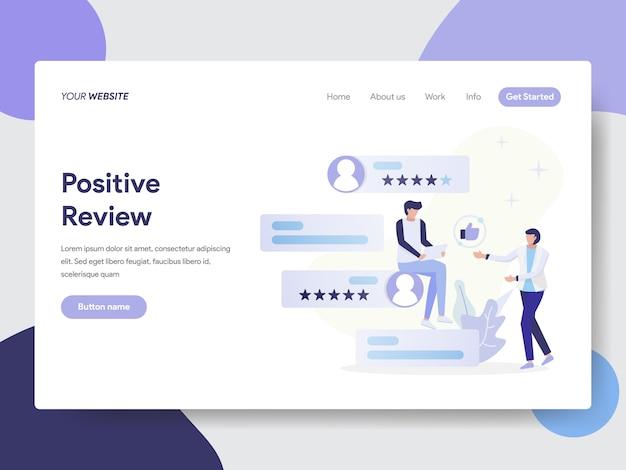 Modelo de página de aterrissagem do conceito de ilustração de revisão positiva