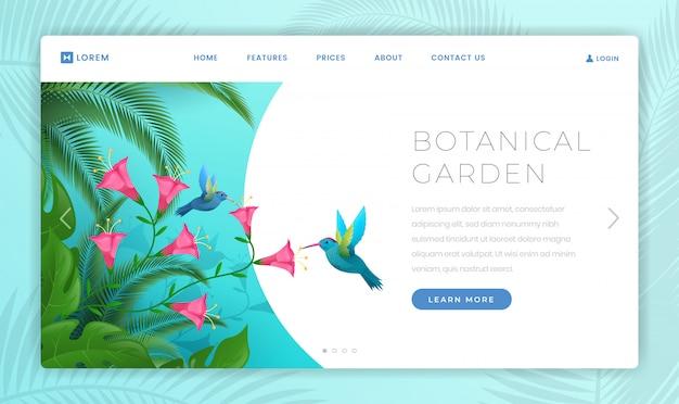 Modelo de página de aterrissagem do jardim botânico
