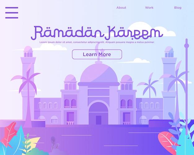 Modelo de página de aterrissagem, feliz ramadan mubarak modelo de design de web com mesquita