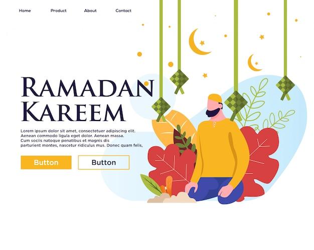 Modelo de página de aterrissagem, feliz ramadan mubarak web design template