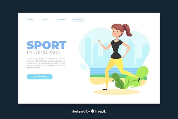 Modelo de página de aterrissagem garota esportiva