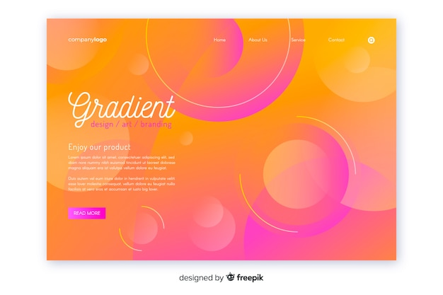 Modelo de página de aterrissagem geométrica de gradiente