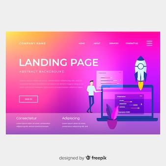 Modelo de página de aterrissagem gradiente colorido