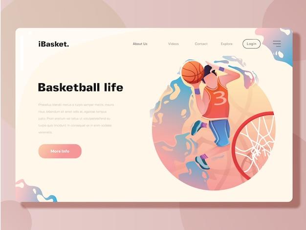 Modelo de página de aterrissagem, ilustração em vetor web basquete
