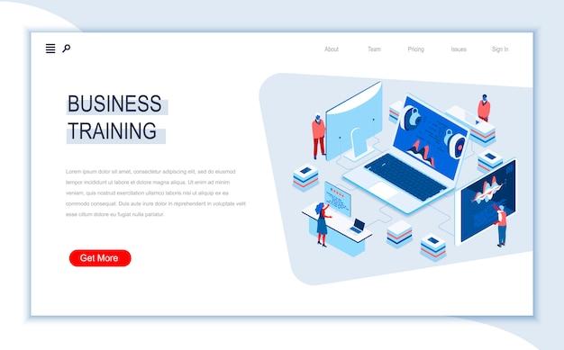 Modelo de página de aterrissagem isométrica de treinamento de negócios.