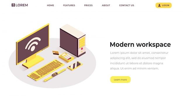Modelo de página de aterrissagem isométrica do espaço de trabalho moderno