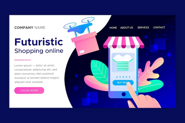 Modelo de página de aterrissagem on-line futurista de compras