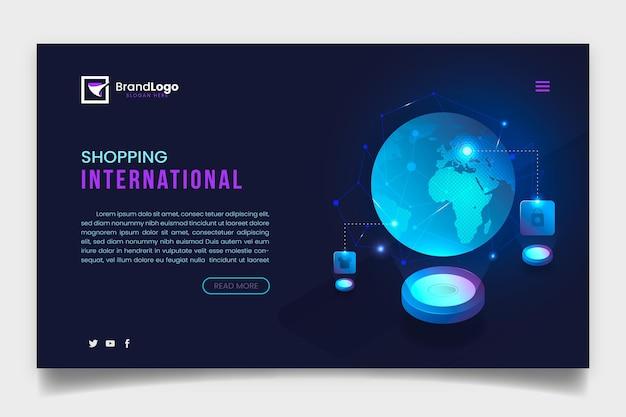 Modelo de página de aterrissagem online de compras futurista criativa