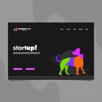 Modelo de página de aterrissagem para negócios de inicialização com ilustração de cão, menu e botões