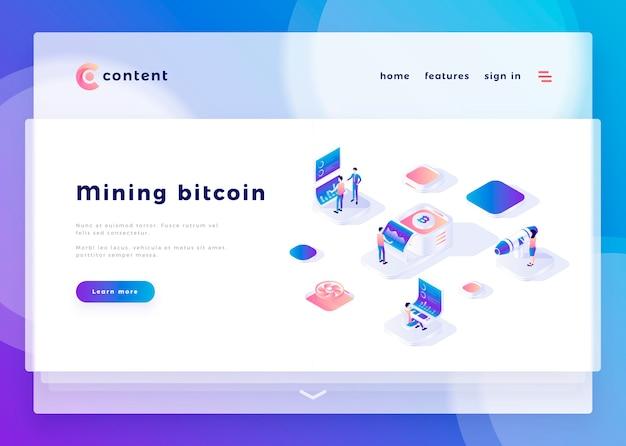 Modelo de página de aterrissagem para pessoas de escritório de bitcoin de mineração e interagir com ilustração em vetor de computadores