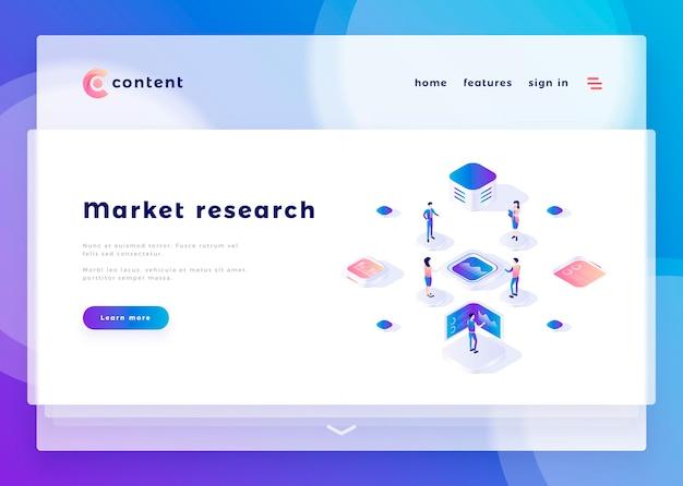 Modelo de página de aterrissagem para pessoas de escritório de pesquisa de mercado e interagir com ilustração vetorial de computadores