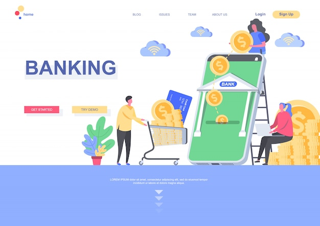 Modelo de página de aterrissagem plana bancário. pagamento on-line e transação financeira com a situação do aplicativo móvel bancário. página da web com caracteres de pessoas. ilustração de crédito e depósito.