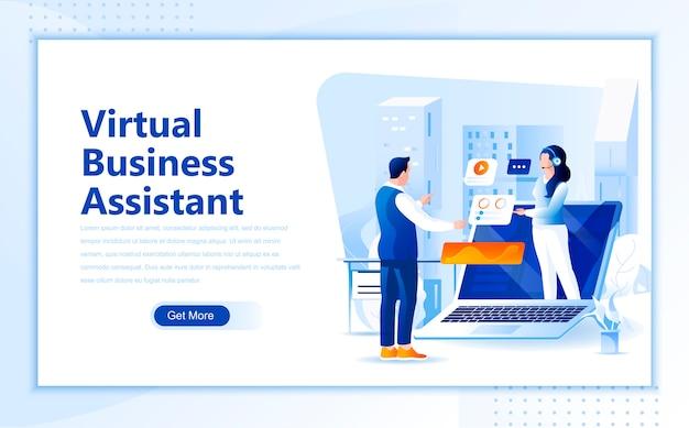 Modelo de página de aterrissagem plana de assistente virtual de negócios da página inicial
