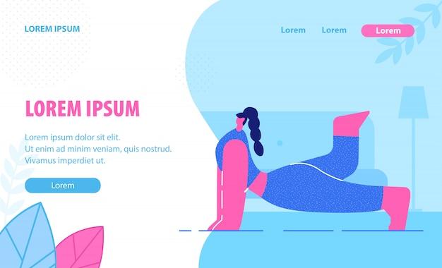 Modelo de página de aterrissagem plana de lições de ioga.