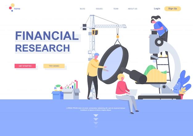 Modelo de página de aterrissagem plana de pesquisa financeira. analistas que estudam cuidadosamente os dados com a situação da lupa e do microscópio. página da web com caracteres de pessoas. ilustração de serviço de consultoria