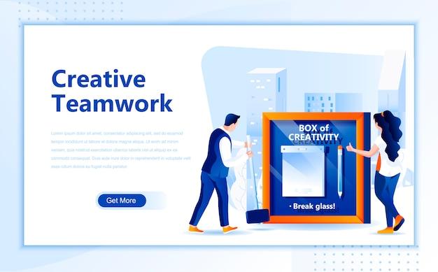 Modelo de página de aterrissagem plana de trabalho em equipe criativa da página inicial