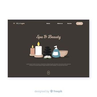 Modelo de página de aterrissagem spa com produtos de beleza