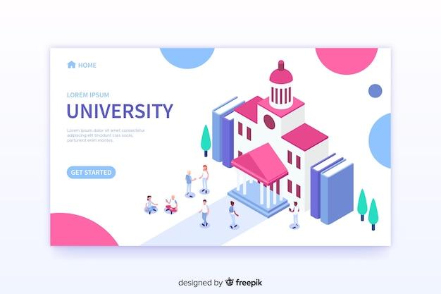 Modelo de página de aterrissagem universitária isométrica