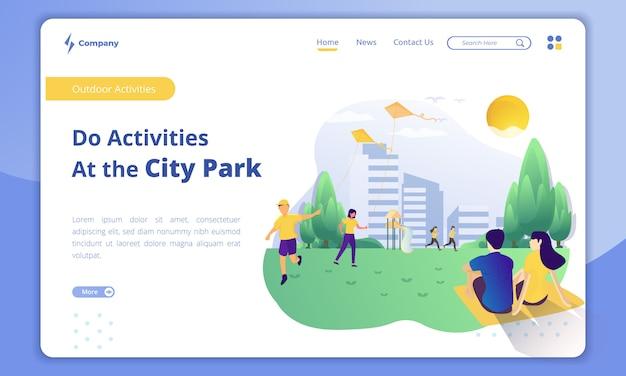 Modelo de página de atividades ao ar livre no parque da cidade no destino