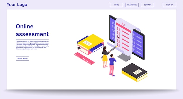 Modelo de página de avaliação on-line com ilustração isométrica