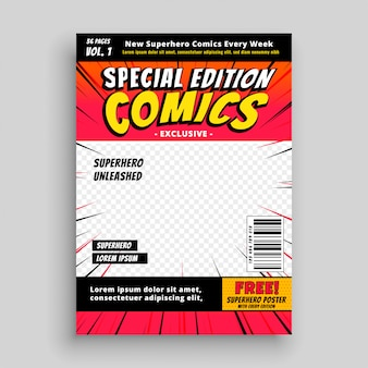 Modelo de página de capa de edição especial de quadrinhos