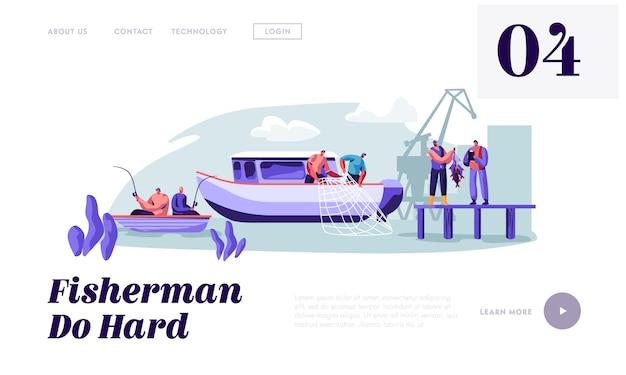 Modelo de página de desembarque de pescadores trabalhando em barcos grandes, pescando peixes