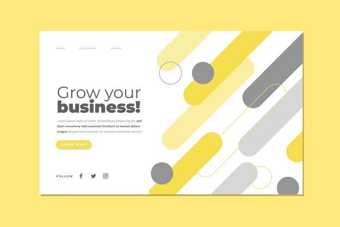Modelo de página de destino abstrato amarelo e cinza
