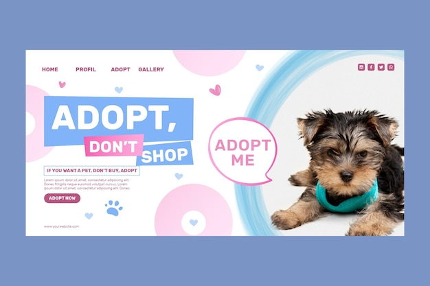 Modelo de página de destino adote um animal de estimação não compre