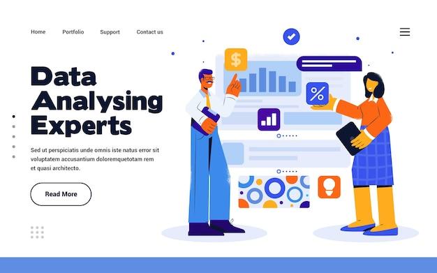 Modelo de página de destino análise de dados em estilo de design plano