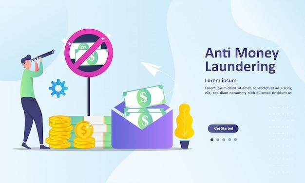 Modelo de página de destino anti-lavagem de dinheiro