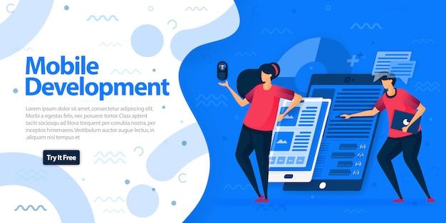 Modelo de página de destino aplicativos de desenvolvimento móvel.