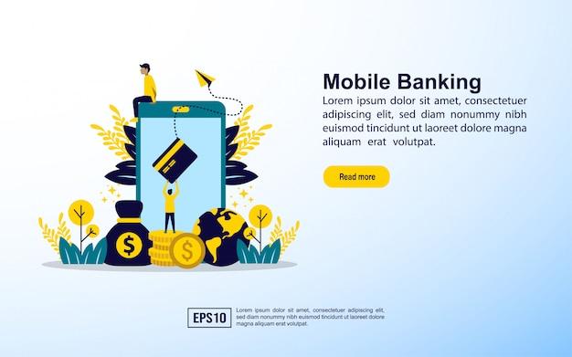 Modelo de página de destino. banco móvel