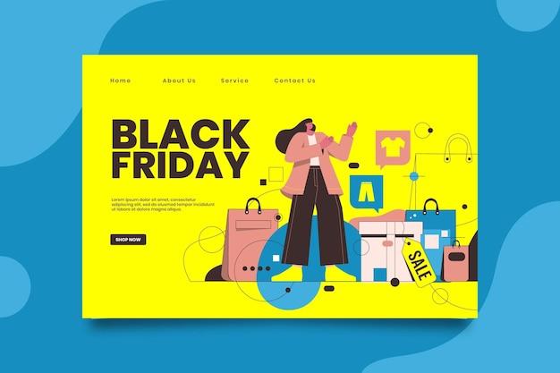 Modelo de página de destino black friday Vetor Premium