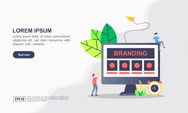 Modelo de página de destino. branding conceito de ilustração com caráter.