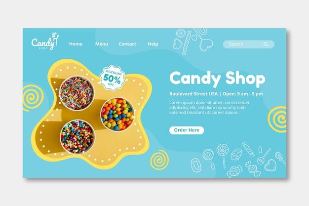 Modelo de página de destino candy