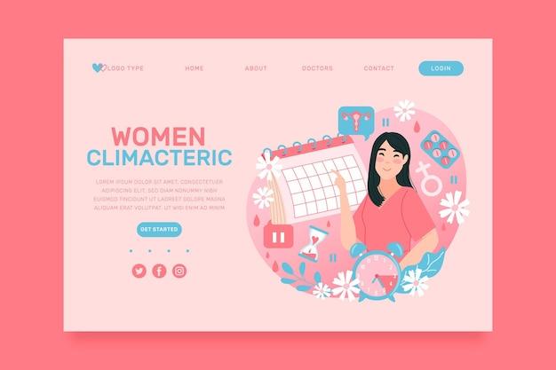 Modelo de página de destino climatérica feminina