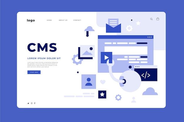 Modelo de página de destino cms de design plano