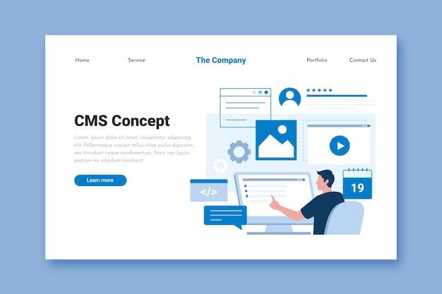 Modelo de página de destino cms plana