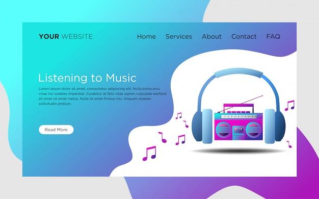 Modelo de página de destino com a escutar a ilustração de música