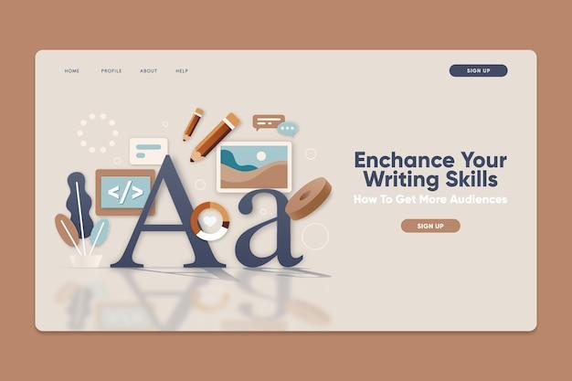 Modelo de página de destino com aprimoramento de habilidades de escrita