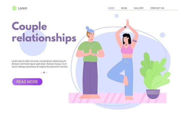 Modelo de página de destino com casal fazendo poses de ioga juntos, uma ilustração vetorial