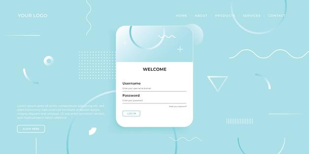 Modelo de página de destino com desenho geométrico para design de site de negócios.