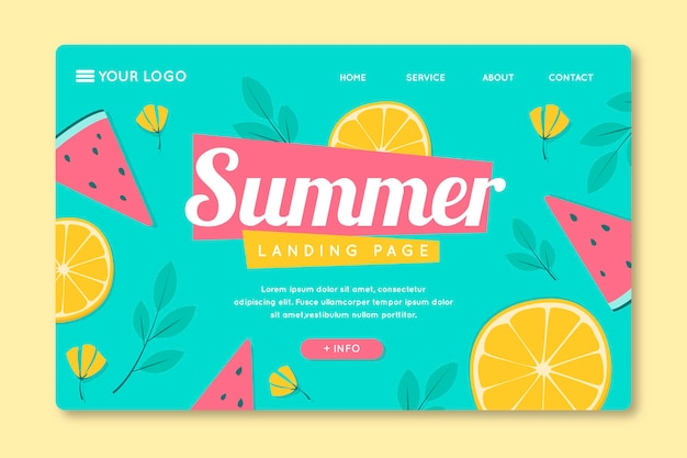 Modelo de página de destino com frutas