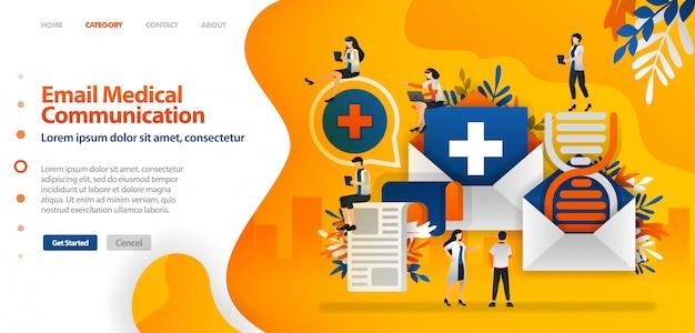 Modelo de página de destino com ilustração de histórico médico e dna são enviados por email para facilitar a comunicação entre documentos de saúde