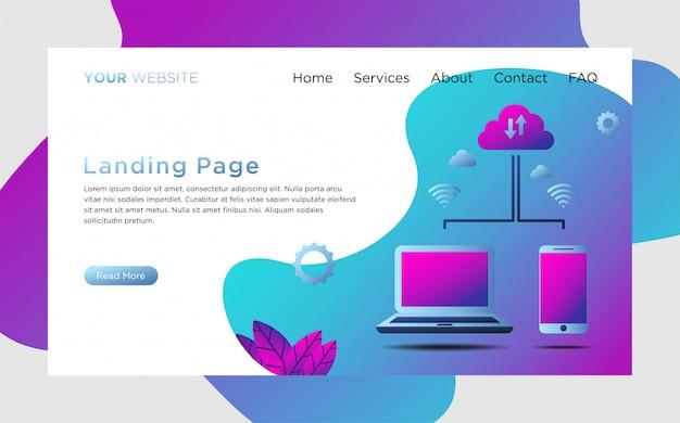 Modelo de página de destino com ilustração do servidor de nuvem