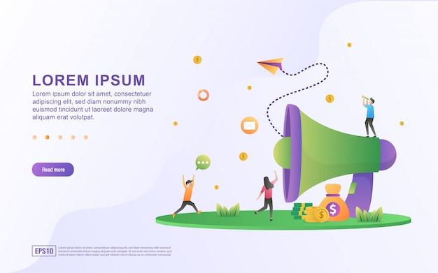 Modelo de página de destino com ilustrações convidando amigos para participar do programa de referência