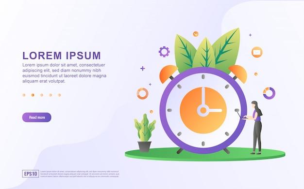 Modelo de página de destino com ilustrações, gerenciando o tempo para negócios e vida pessoal
